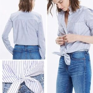 🔴  MADEWELL Striped Front Tie Shirt Blue White L